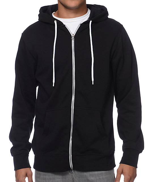 Hooligan Black Solid Zip Up Hoodie