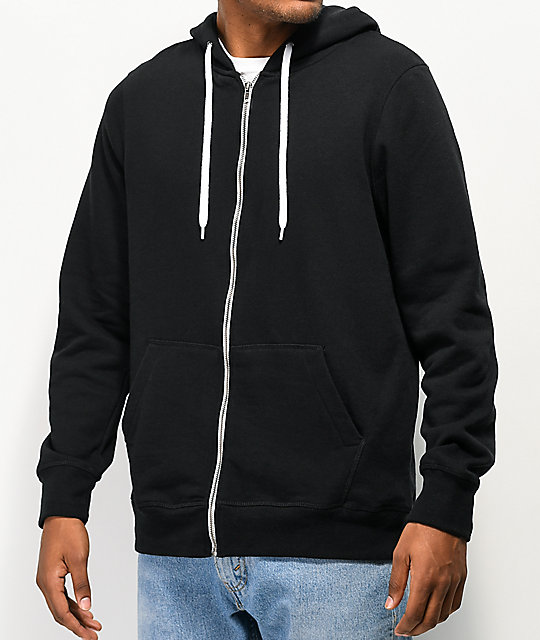 Raglan sleeves and a drawstring hood tone down a sleek black zip jacket that's soft and lightweight.