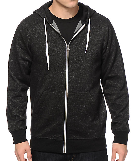 Hooligan Black Speckle Zip Up Hoodie