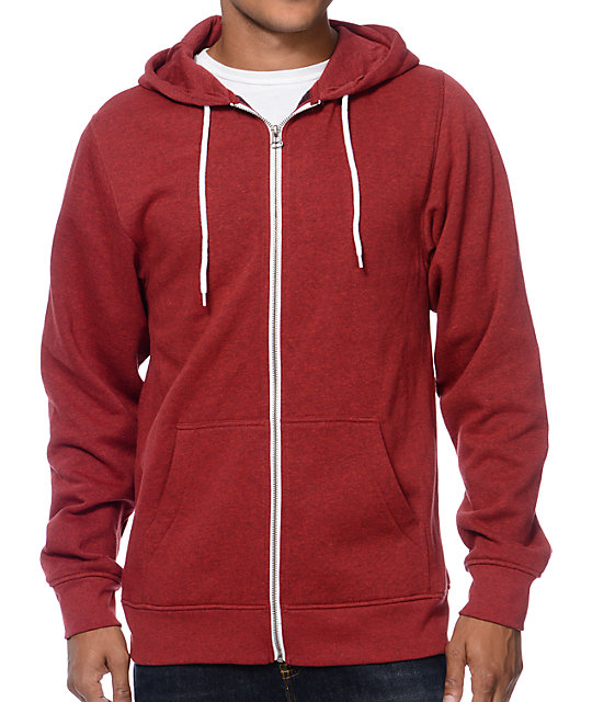 Red and white zip up hoodie