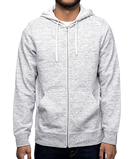 Hooligan Grey Space Dyed Zip Up Hoodie