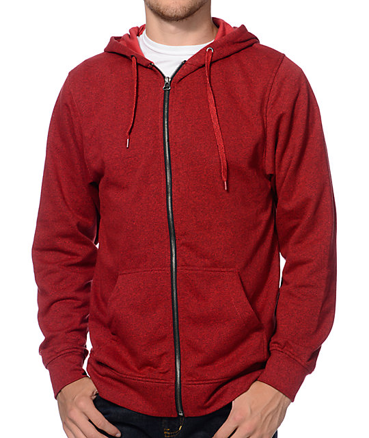 Zine Hooligan Marled Red Zip Up Hoodie at Zumiez : PDP