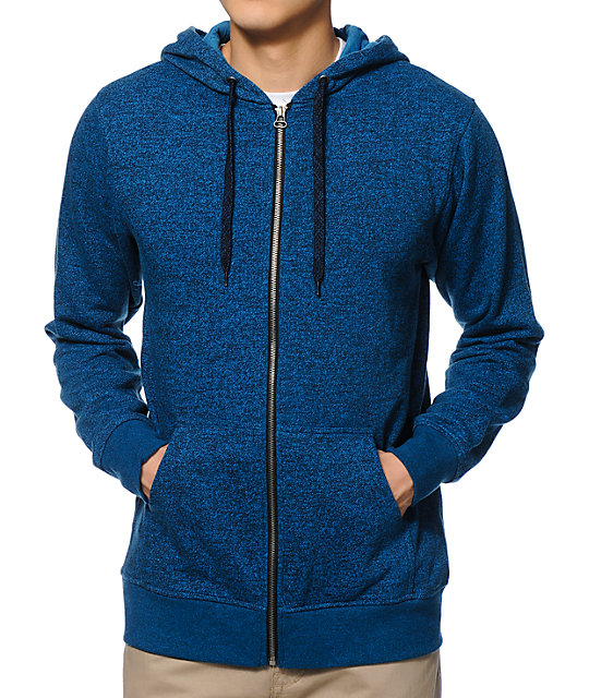 Zine Hooligan Ocean Speckle Blue Zip Up Hoodie