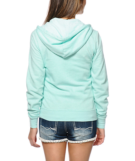 Zine Ice Green Speckle Zip Up Hoodie