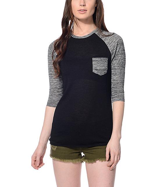 Zine Indira Hacci Black & Grey Baseball T-Shirt