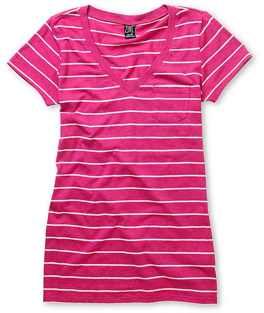 Iris Pink & White Striped V-Neck T-Shirt