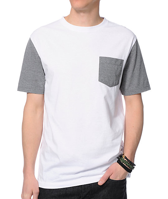 Zine Iron White & Grey Pocket T-Shirt