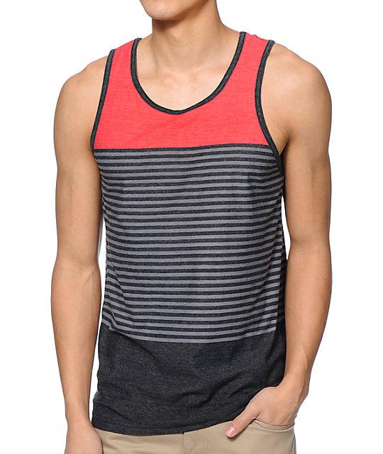 Zine Jazz Red, Grey, & Black Stripe Tank Top