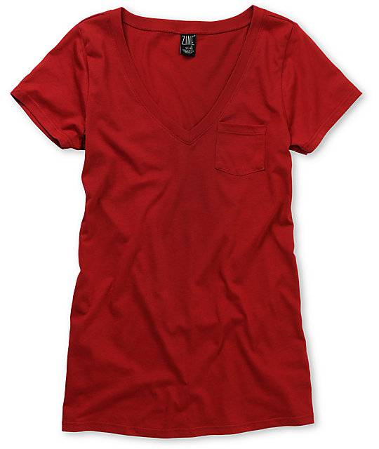 Zine Jester Red V-Neck T-Shirt