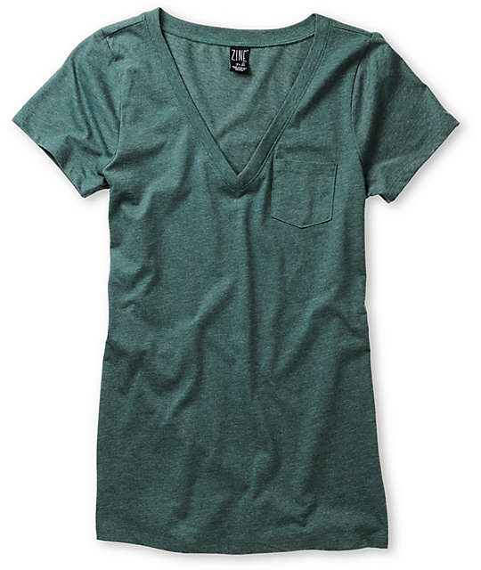 Zine June Bug Green V-Neck T-Shirt