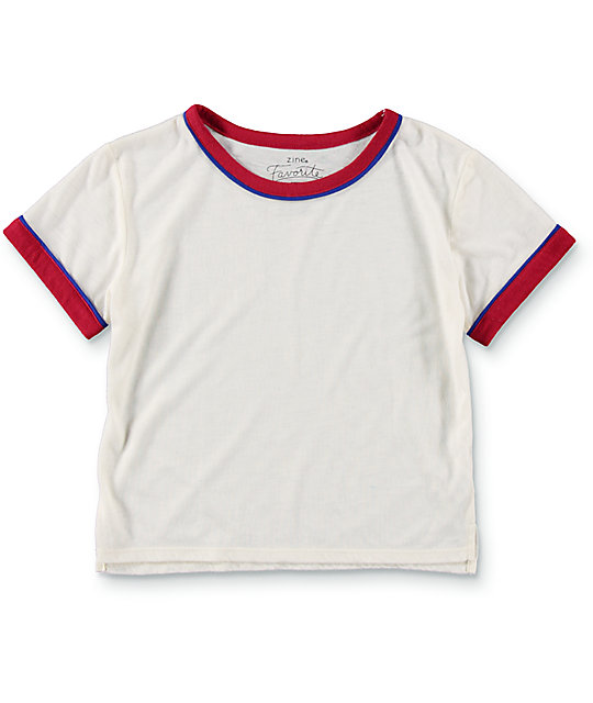 Zine Khan White, Red & Blue Ringer T-Shirt