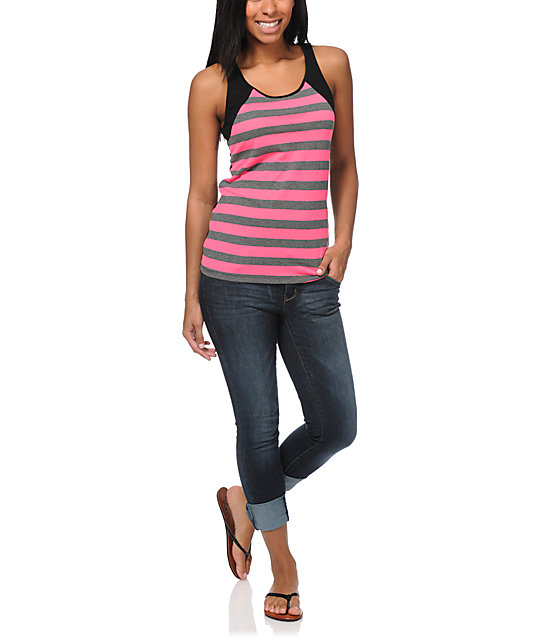 Zine Knockout Pink & Charcoal Stripe Tank Top