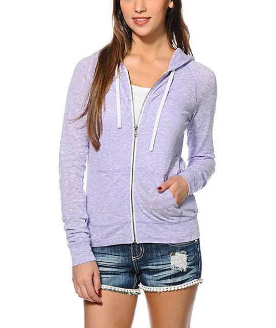 Zine Lavender Raglan Zip Up Hoodie at Zumiez : PDP
