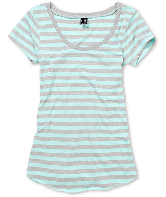Zine Light Grey & Aqua Scoop T-Shirt