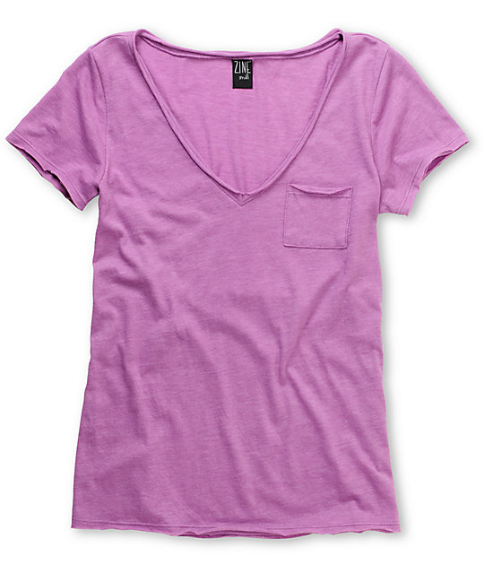 Zine Light Purple Raw Edge V-Neck T-Shirt