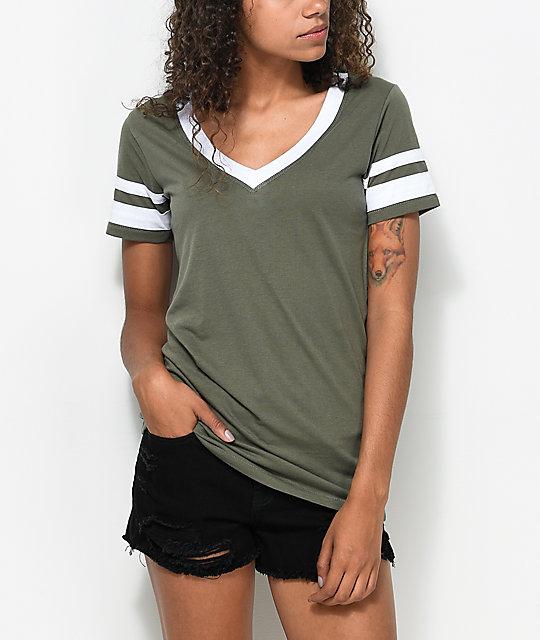 Zine Lizz Olive V-Neck T-Shirt
