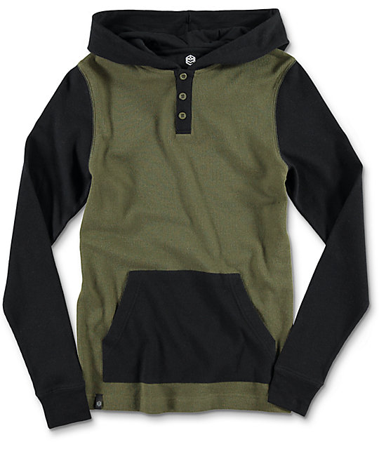 Long Winter Boys Olive & Black Hooded Henley Long Sleeve T-Shirt
