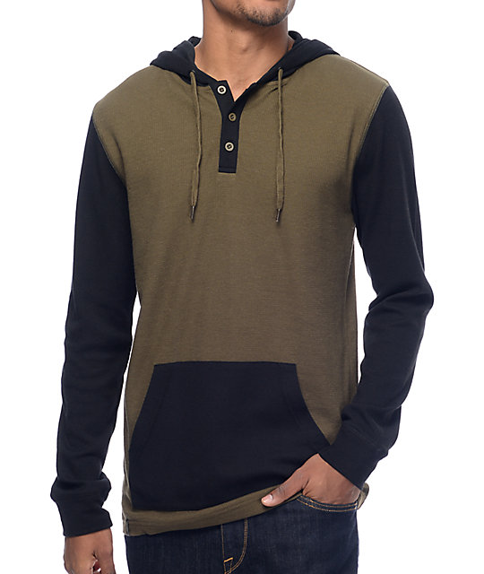 Long Winter Olive & Black Hooded Henley Long Sleeve T-Shirt