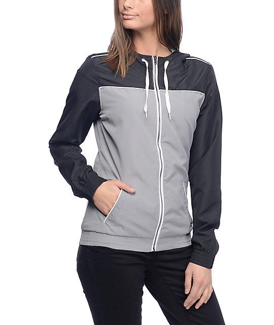 Zine Lonnie Black & Grey Lined Windbreaker Jacket
