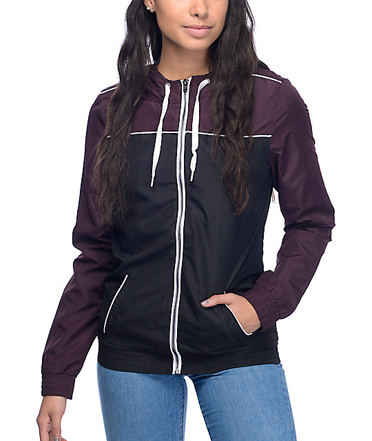 Zine Lonnie Burgundy & Black Lined Windbreaker Jacket at Zumiez : PDP