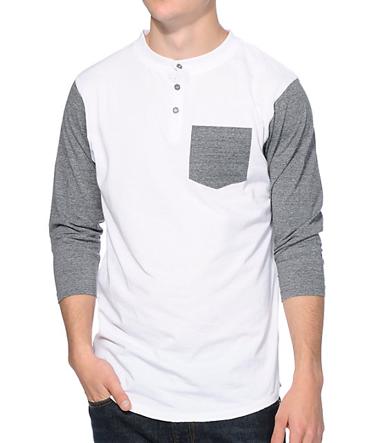 Zine Lucky White & Charcoal Henley Pocket Baseball T-Shirt