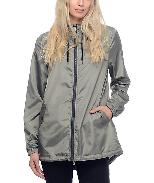 Zine Mae Olive Long Windbreaker Jacket | Zumiez
