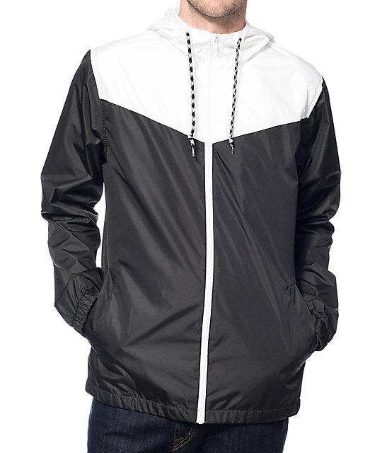 Zine Marathon White Amp Black Windbreaker Jacket At Zumiez Pdp