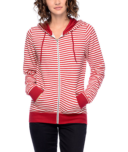 Zine Matilda Red & Cream Stripe Zip Up Hoodie
