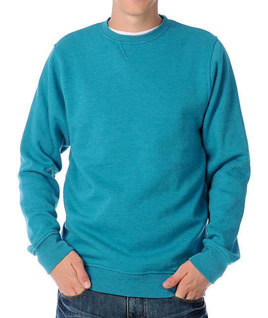 Zine Mens Cruiser Turquoise Aqua Crew Sweatshirt