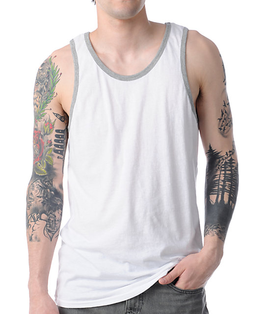 Zine Mens Ringer White & Grey Tank Top