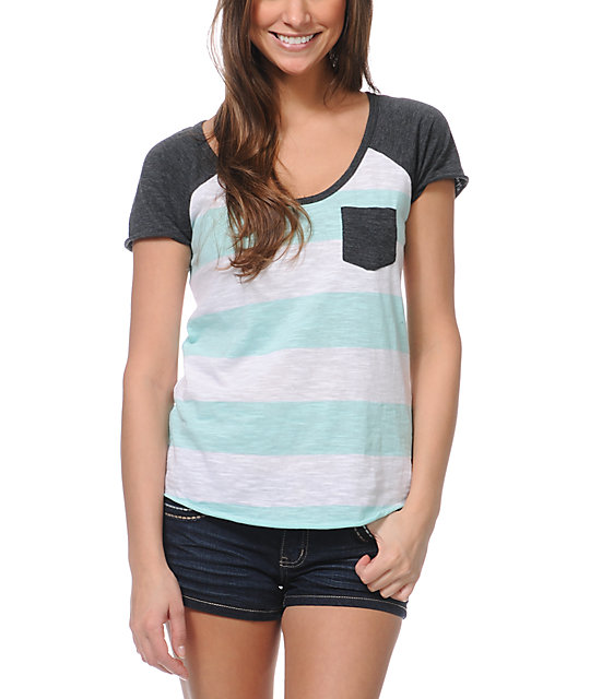 Zine Mint & White Stripe T-Shirt