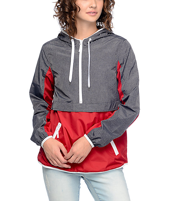 Zine Myla Grey & Red Pullover Windbreaker Jacket | Zumiez