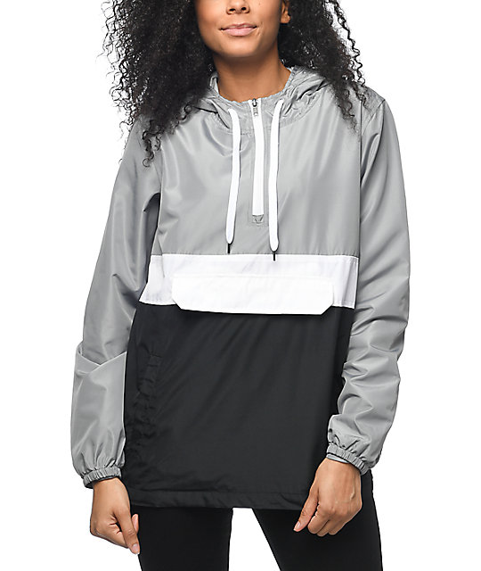 Zine Neala Grey, White & Black Pullover Windbreaker | Zumiez
