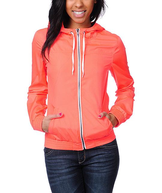 Zine Neon Coral Windbreaker Jacket