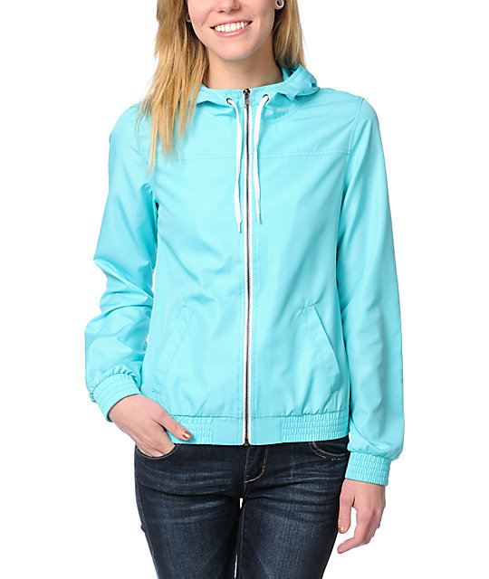 Zine Neon Light Blue Windbreaker Jacket at Zumiez : PDP