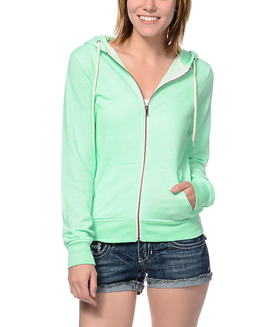 Zine Neon Mint Speckle Zip Up Hoodie