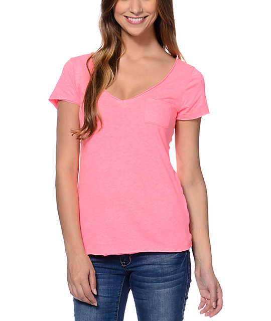 Zine Neon Pink Raw Edge V-Neck T-Shirt at Zumiez : PDP