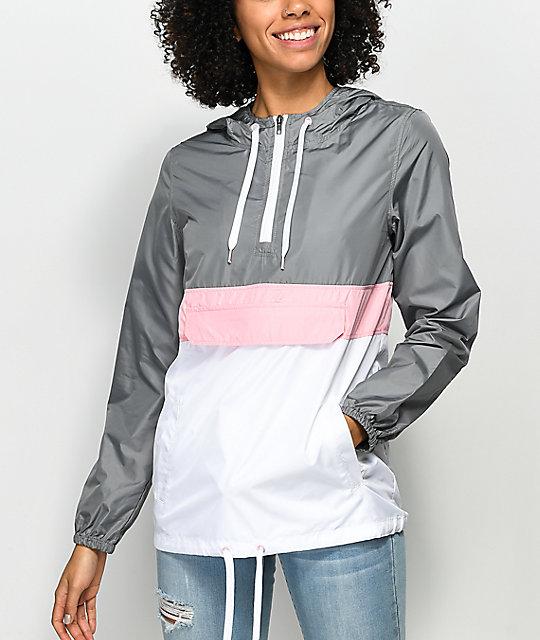 Zine Neve Grey, White & Pink Pullover Windbreaker | Zumiez