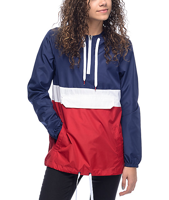 Zine Neve Red, White, & Navy Windbreaker Hoodie at Zumiez : PDP
