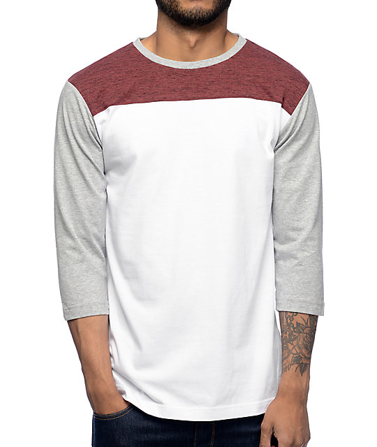 No Walls Burgundy, White, & Grey Baseball T-Shirt