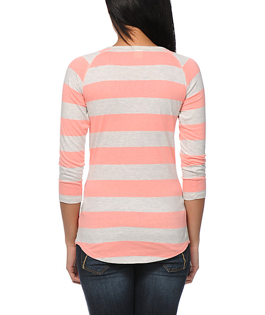 Zine Oatmeal & Coral Rugby Stripe Henley Shirt
