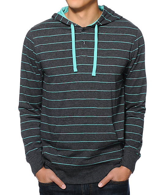 Zine Otherside Charcoal & Teal Stripe Hooded Henley Shirt