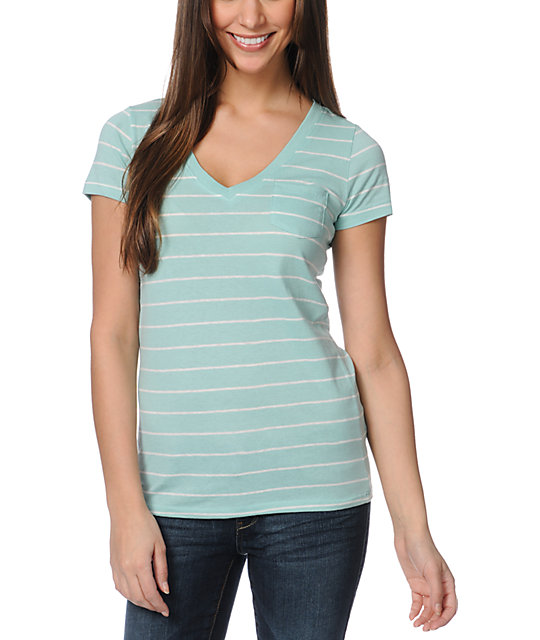 Zine Pastel Green & White Striped V-Neck T-Shirt
