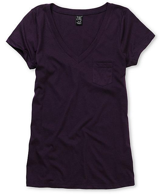 Zine Pennant Purple V-Neck T-Shirt