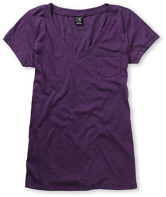 Zine Pennant Purple V-Neck T-Shirt