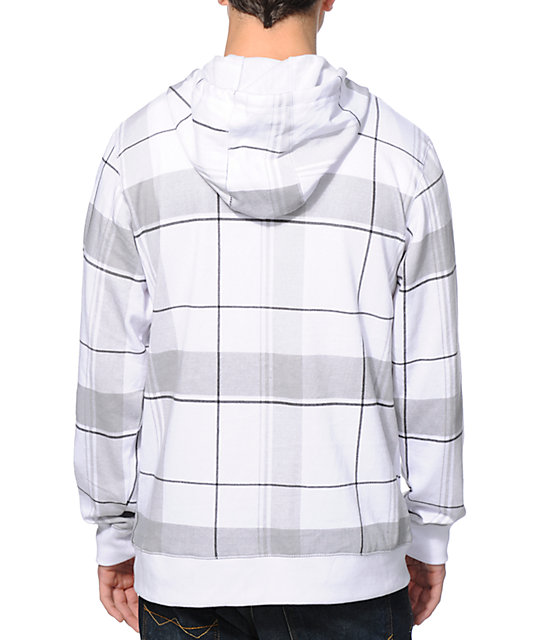 Zine Plaid U Up White Plaid Zip Up Hoodie