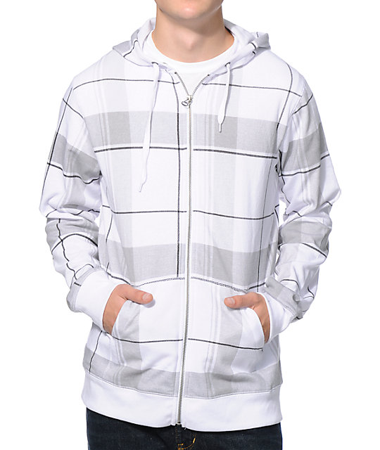 Zine Plaid U Up White Plaid Zip Up Hoodie at Zumiez : PDP