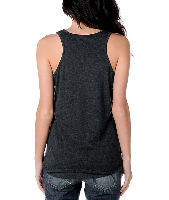 Zine Pocket Heather Black Tank Top