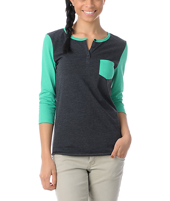 Zine Princess Green & Charcoal Henley Shirt
