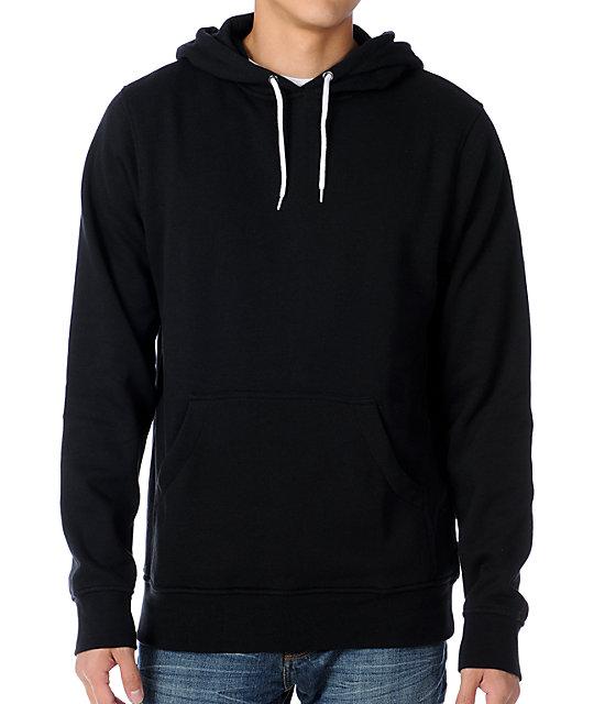 Zine Pulley Solid Black Pullover Hoodie
